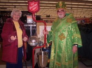 Pani Oksana and Bishop Yaroslaw volunteering for the Salvation Army Kettle Drive (2010)